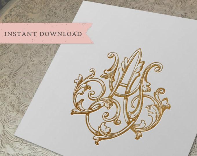 Vintage Wedding Monogram AY YA Digital Download A Y