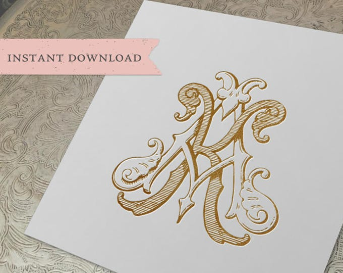 Vintage Wedding Monogram KA AK Digital Download  K A