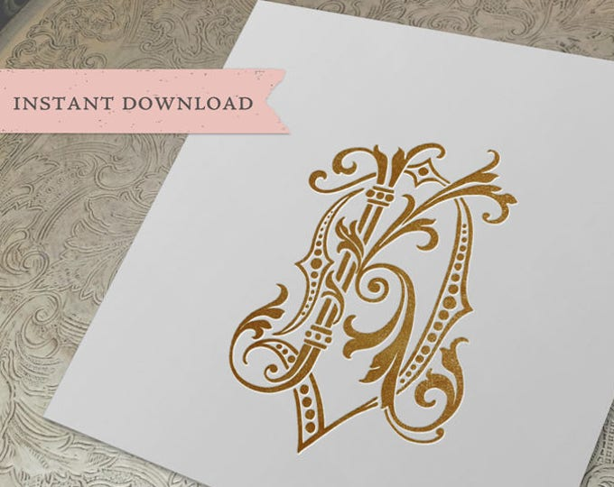 Vintage Wedding Monogram DK KD Digital Download K D