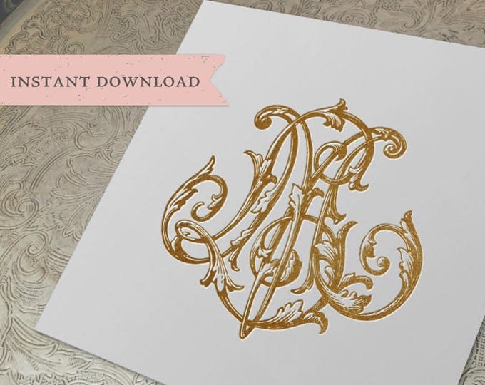 Vintage Wedding Duogram LM ML Digital Download  L M