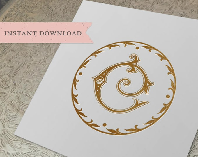 Wedding Crest Vintage Initial C Wreath Crest Digital Download