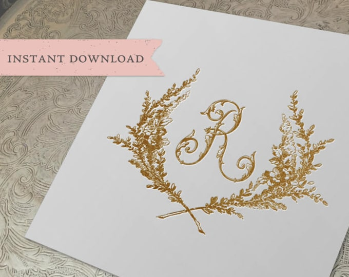 Vintage Wedding Initial Crest R Garden Wreath Digital Download