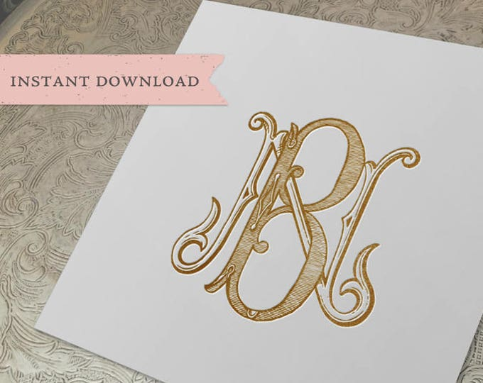 Vintage Wedding Monogram NB BN Digital Download B N