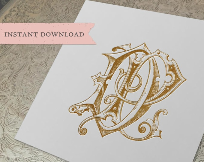 Vintage Wedding Monogram DP PD Digital Download D P