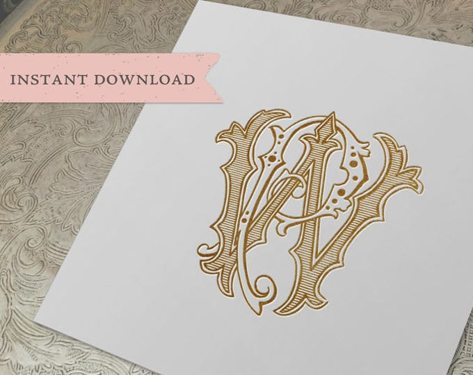Vintage Wedding Monogram WP PW Digital Download W P
