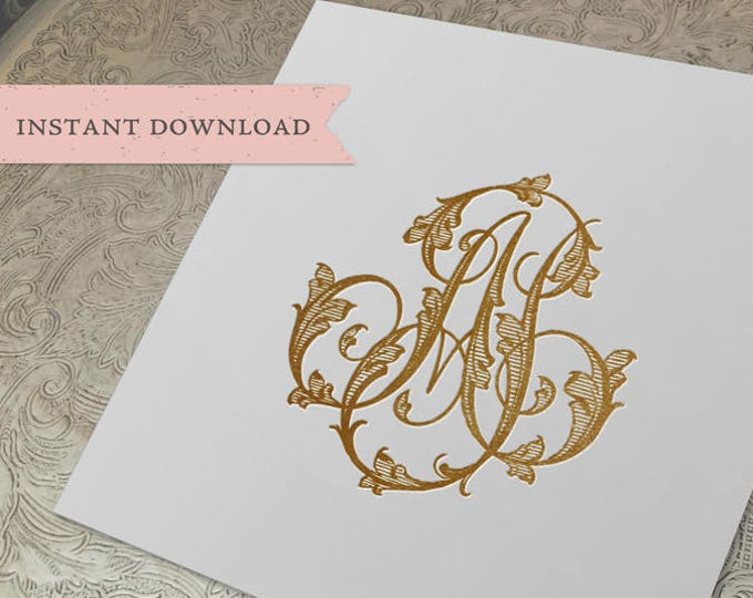 Vintage Wedding Monogram AJ JA Wedding Duogram Digital Download A J