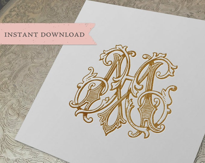 Vintage Wedding Monogram HM MH Digital Download  H M