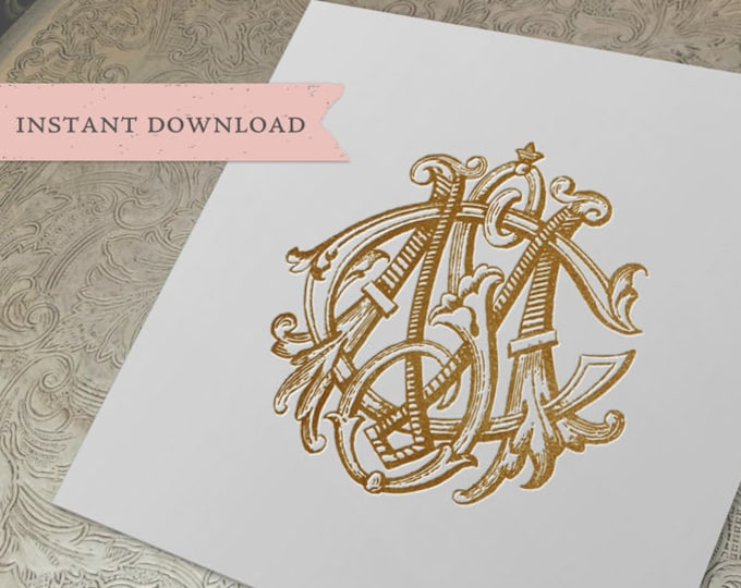 3 Initial Vintage Monogram MSC  Three Letter Wedding Monogram Digital Download CSM  SMC cMs