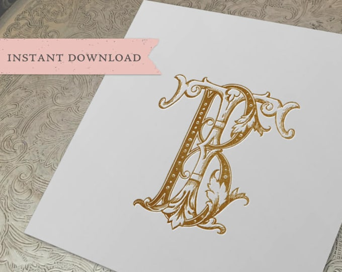 Vintage Wedding Monogram TB BT Digital Download B T