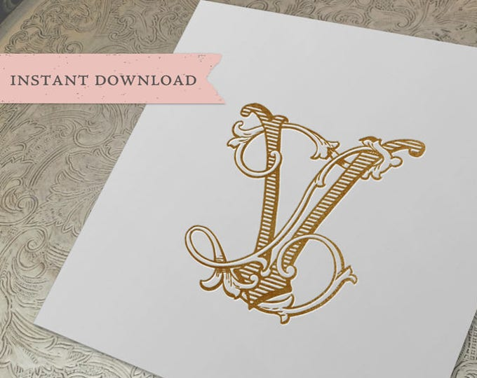 Vintage Wedding Monogram VL LV Digital Download V L