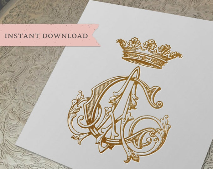 Vintage CROWN Monogram AC CA Digital Download A C