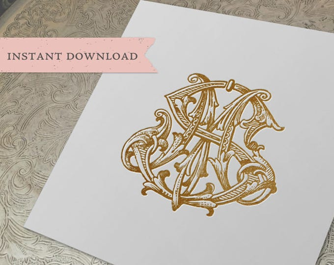 Vintage Wedding Monogram MS SM Digital Download S M