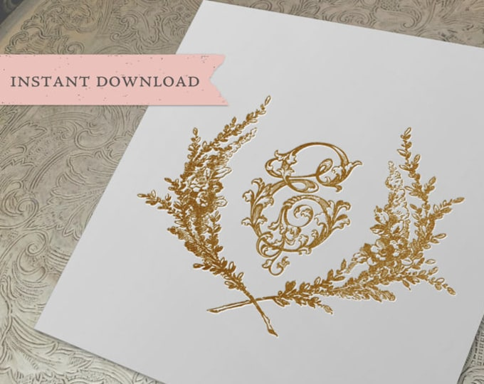 Vintage Wedding Initial Crest E Garden Wreath Digital Download