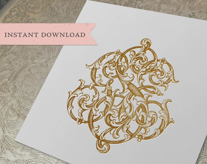 3 Initial Vintage Monogram GSE  Three Letter Wedding Monogram Digital Download G S E