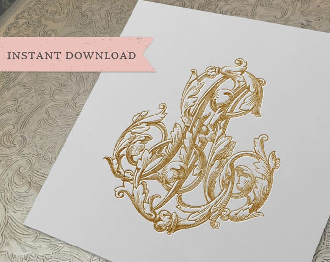 Vintage Wedding Monogram MS SM Digital Download S M