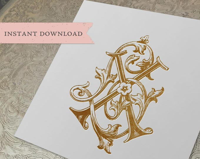 Vintage Wedding Monogram XL LX Digital Download X L