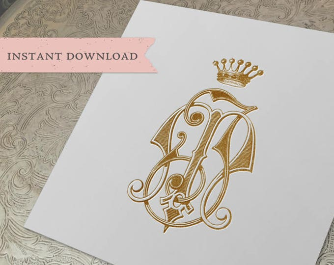Vintage CROWN Monogram MJ JM Digital Download M J