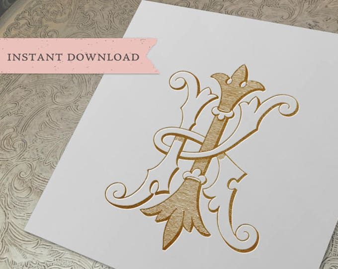 Vintage Wedding Monogram KI IK Digital Download K I