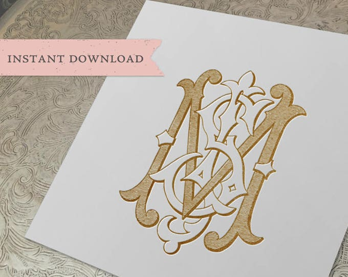 3 Initial Vintage Monogram JMS SMJ MSJ  Three Letter Wedding Monogram Digital Download M S J