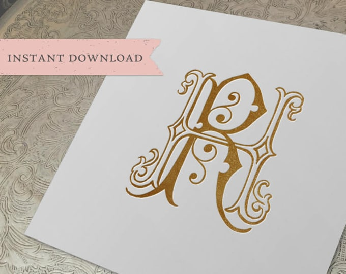 Vintage Wedding Monogram HR RH Digital Download H R