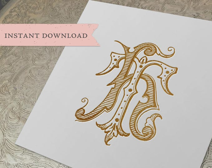 Vintage Wedding Monogram HT TH Digital Download T H