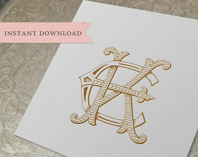 Vintage Wedding Monogram KE EK Digital Download K E