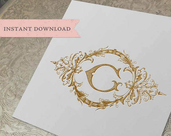 Wedding Crest Vintage Initial G Wreath Crest Digital Download