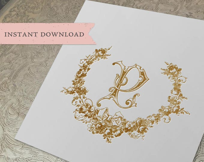 Wedding Crest Vintage Initial P Roses Wreath Crest Digital Download