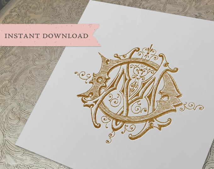 Vintage Wedding Monogram MD DM Digital Download M D
