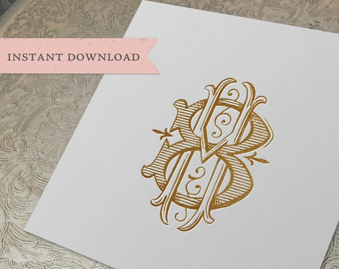 Vintage Wedding Monogram HB BH Digital Download B H