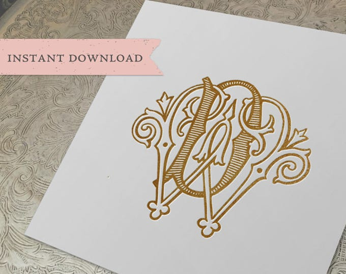 Vintage Wedding Monogram WD DW Digital Download W D