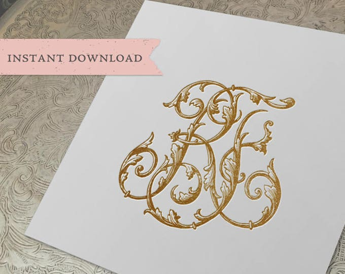 Vintage Wedding Monogram RF FR Wedding Duogram Digital Download R F
