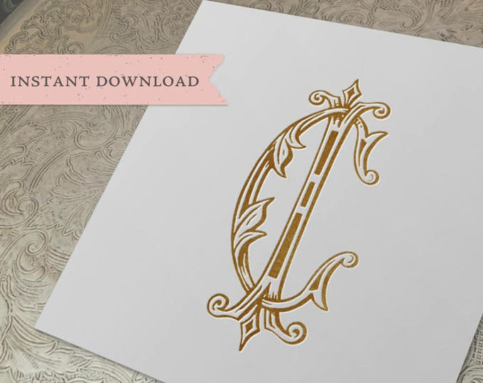Vintage Wedding Monogram CI IC Digital Download C I