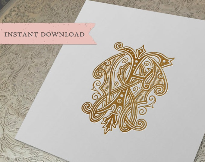 Vintage Wedding Monogram WF FW Digital Download W F