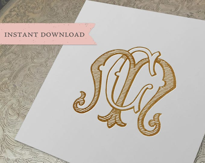 Vintage Wedding Monogram CM MC Digital Download M C