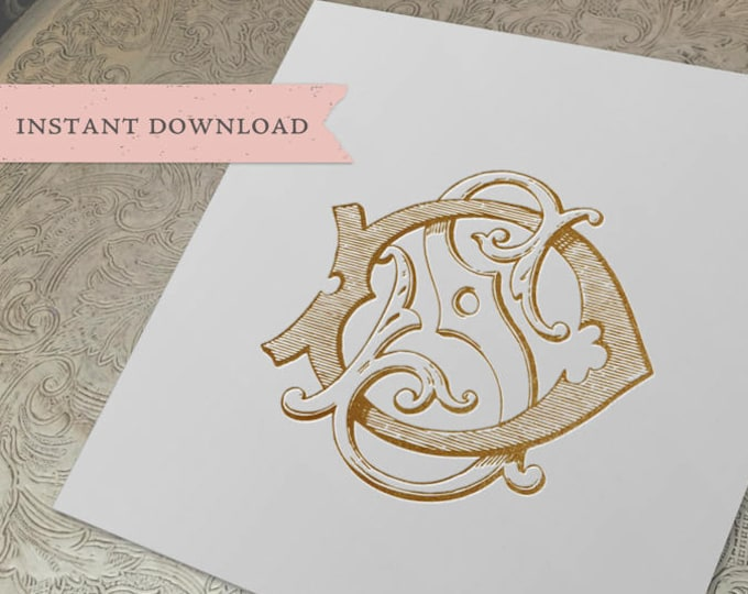 Vintage Wedding Monogram SD DS Digital Download S D
