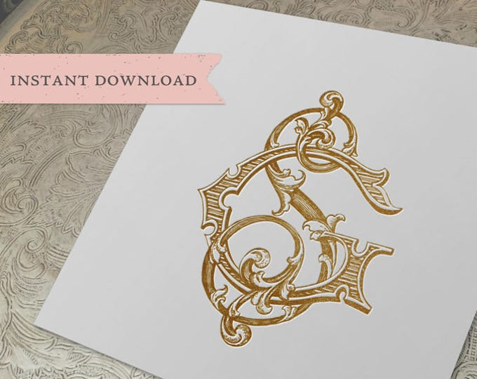 Vintage Wedding Monogram SG GS Digital Download S G