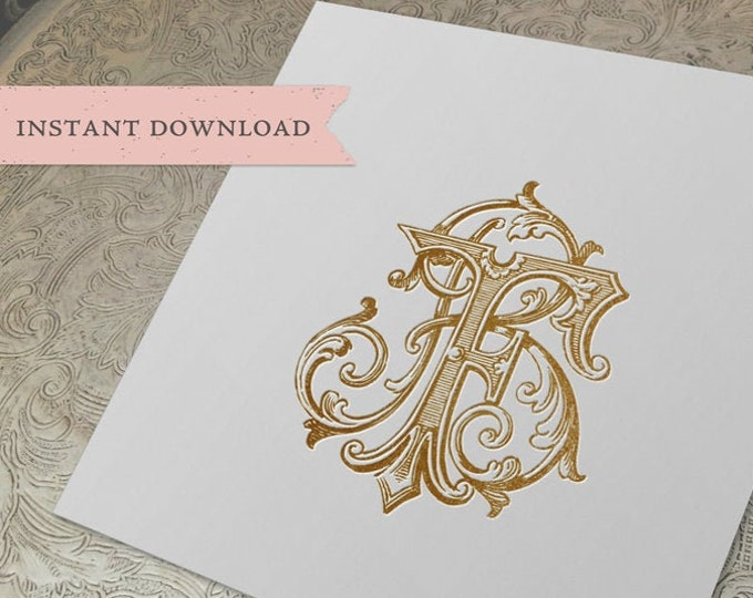 Vintage Wedding Monogram FB BF Digital Download B F