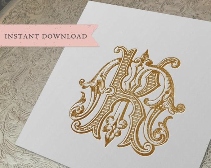 Vintage Wedding Monogram MK KM Digital Download K M