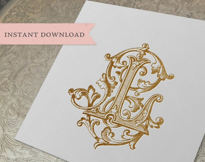 Vintage Wedding Monogram LL Digital Download Double L