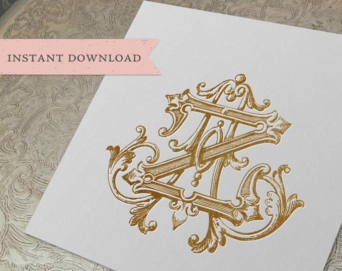Vintage Monogram ZA AZ Digital Download A Z