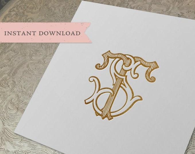 Vintage Wedding Monogram ST TS Digital Download S T