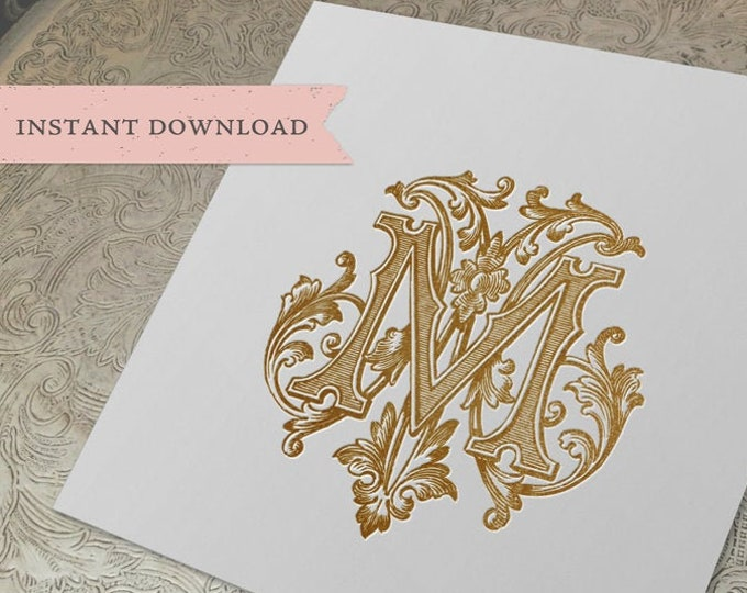 Vintage Wedding Monogram MM Digital Download double M