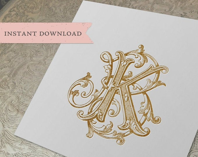 Vintage Wedding Monogram KB BK Wedding Duogram Digital Download K B