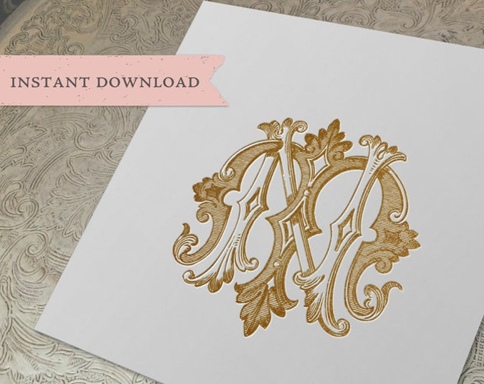 Vintage Wedding Monogram NM MN Digital Download N M