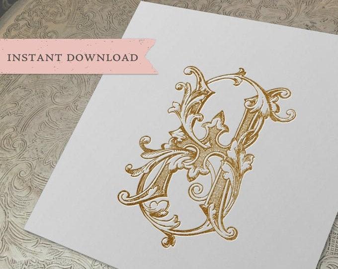 Vintage Wedding Monogram GH HG Digital Download G H