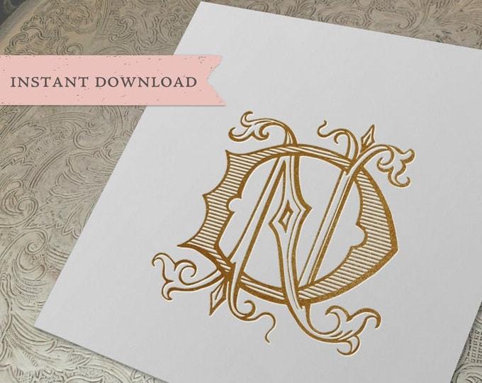 Vintage Wedding Monogram ND DN Digital Download D N
