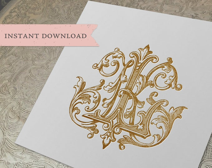 Vintage Wedding Monogram KL LK Digital Download K L
