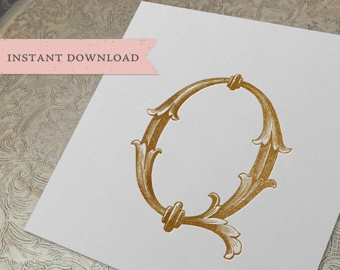 Vintage Wedding Crest Initial Q Digital Download