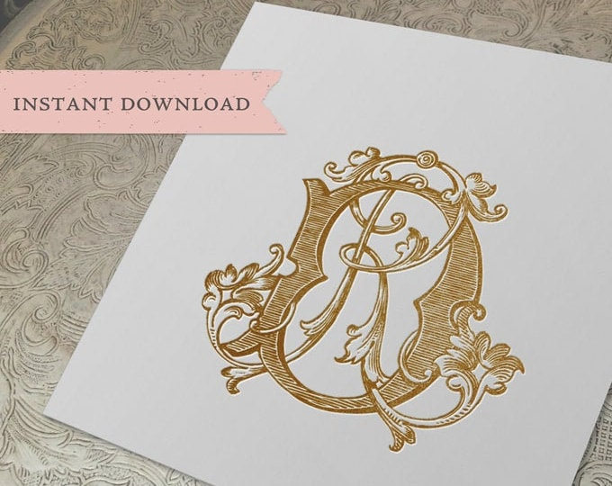 Vintage Wedding Duogram Monogram DR RD Digital Download D R